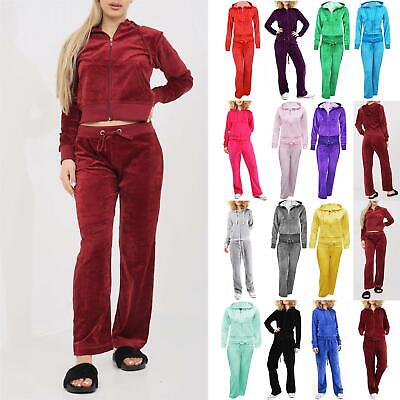 Womens Velvet Velour Hoodies Ladies Hooded Joggers Loungewear 2PCS Tracksuit Set