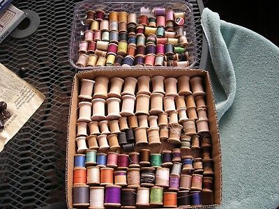 Lot Of Full & Empty Sewing Thread Spools