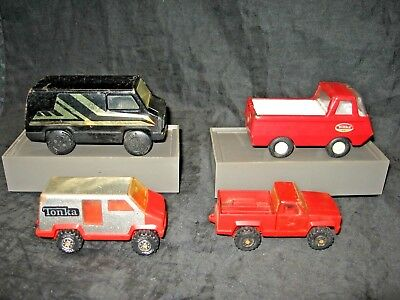 Lot of 4 Vintage Tonka Metal Trucks and Vans Made In USA And Mexico From 70's