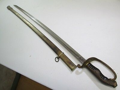 Wwii Japanese Officers Parade Sword With Scabbard & Horn Grip Minty Wide Blade
