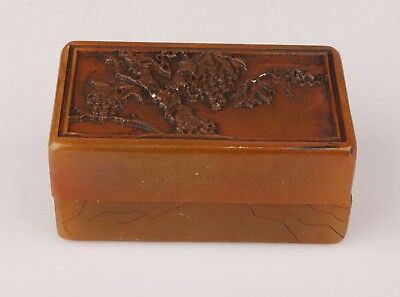 Rare Chinese Shoushan Stone Seal Box Old Hand-Carved Tree Royal Collection