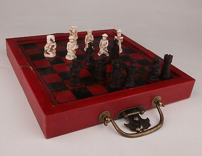 Vintage Red Leather Wood Box Chess Dragon Game Old Antique Collection