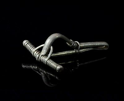 Ancient Roman Silver Bow Type Brooch / Fibula   - T106