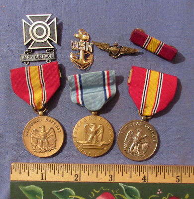 Vintage Lot Of 7 Pins Medals Bars Us Navy Etc
