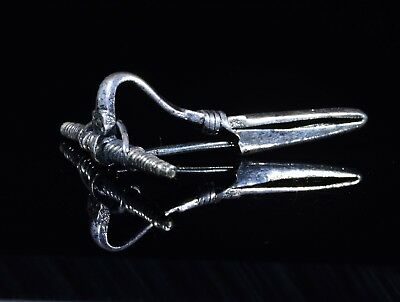 Ancient Roman Silver Bow Type Brooch / Fibula   - T121