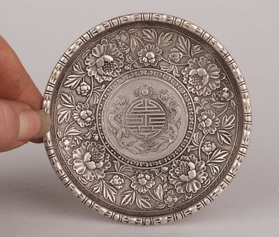 Cupronickel Unique Flower Statue Coin Plate Old Antique Collection Handmade