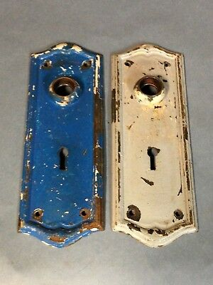 2 Antique Vintage Primitive Shabby Arts Crafts Door Knob Lock Key Hole Plates