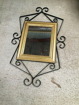 Vintage Old Wrought Iron Pub Sign Frame With Mirror Mounted Up Cycle  28/8/D