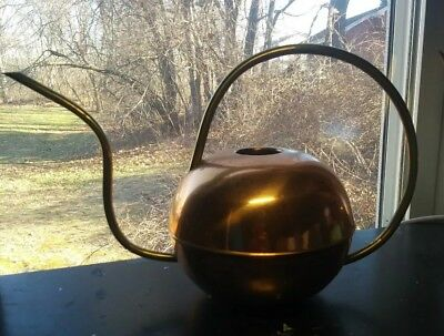 Mid Century Modern Copper And Brass Watering Can Modernist Portugal Copral