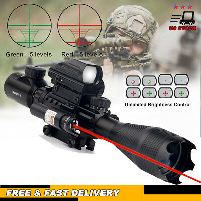 Rifle Scope 4-16x50 Illuminated Reticle w/ Red Green Dot Sight & Red  Laser AX