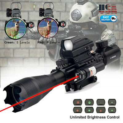 Rifle Scope 4-16x50 Illuminated Reticle w/ Red Green Dot Sight and Red Laser US