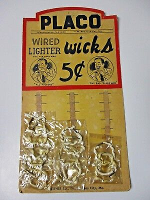 Placo Wired Lighter Wicks Original Display Card Vintage 1950's Replacement Wick
