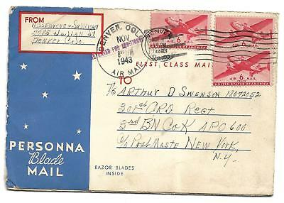 1943 PERSONNA BLADE MAIL,,inside are spaces to send razor blades to soldiers