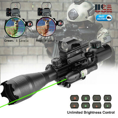 Rifle Scope 4-16x50 Illuminated Reticle w/ Red Green Dot Sight and Green Laser X