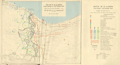 Eve of Battle of El Alamein. Axis positions 23 October 1942 World War 2 1966 map