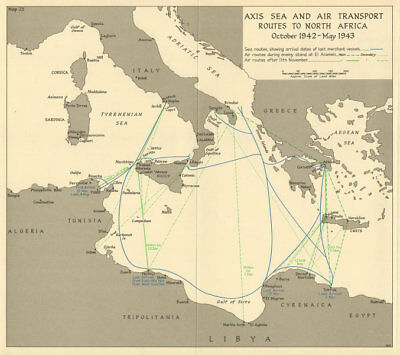 Axis North Africa sea & air transport routes. Oct 1942-May 1943. WW2 1966 map