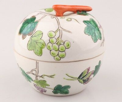Vintage Japanese Style Porcelain Jar Hand-Painted Grape Butterfly Decoration