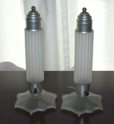 Pair of Art Deco Boudoir Accent Lamps Frosted Glass Base & Shade Vintage too