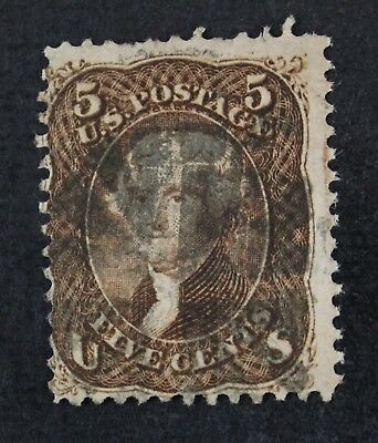 CKStamps: US Stamps Collection Scott#95 5c Jefferson Used Tiny Tear Bottom