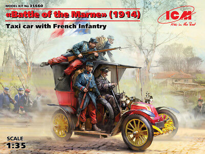 """ICM 35660 Taxi Car w/French Infantry """"Battle of the Marne"""" (1914) in 1:35"""