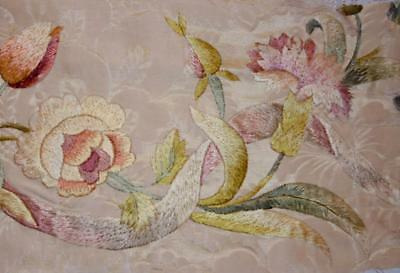 EXQUISITE 19th CENTURY FRENCH EMBROIDERED SILK DAMASK CARNATIONS & ROSES 153.