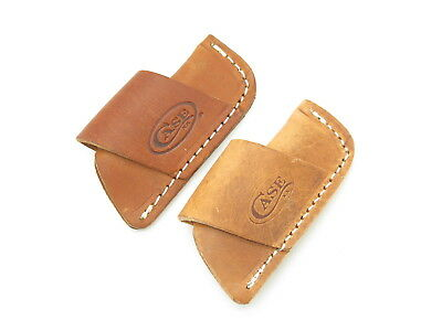 LOT of 2 ~ CASE XX SIDE DRAW LEATHER HORIZONTAL FOLDING POCKET KNIFE SHEATH