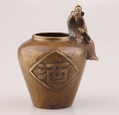 Vintage Chinese Bronze Pot Poet Mascot Decorates Collection Christmas Gift