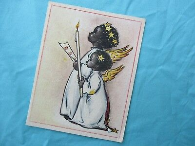 1941 Afro American Girls GRAPHIC GIRLS DRESSED LIKE Angels Christmas Card!