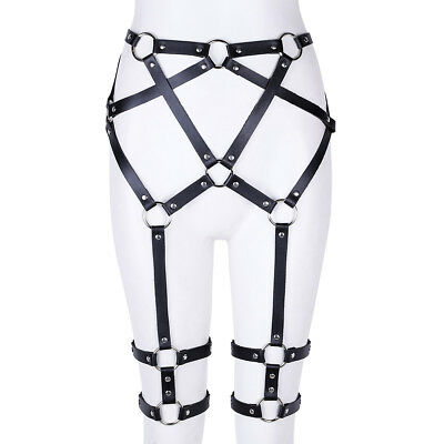 Womens Faux Leather Harness Body Chest Waist Straps Belt Hollow Out Cage Costume