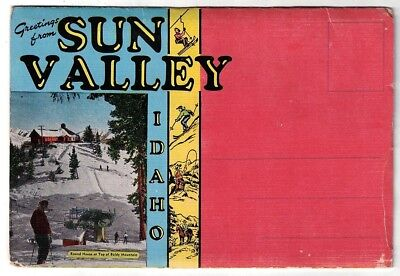 Vintage 1940's Greetings From Sun Valley Idaho 18 View Postcard Folder