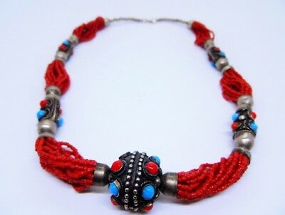 Antique Traditional Jewish Yemeni Yemenite Silver Red Coral Necklace