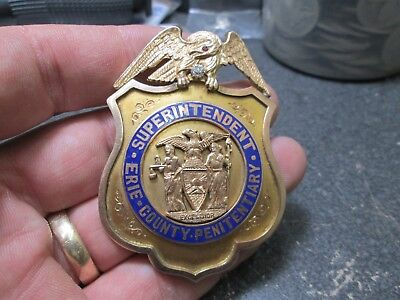 RARE Early ERIE COUNTY NY SUPERINTENDENT PENITENTIARY 10K GOLD & DIAMOND Badge