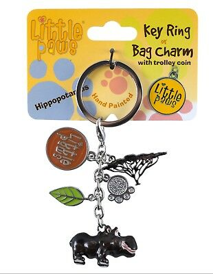 Little Paws Hippopotamus Hippo Key Ring With Charms and Trolley Coin New!