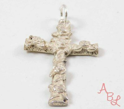 Sterling Silver Vintage 925 Religious Cross Floral Charm Pendant (2.4g) - 745910