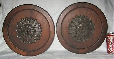 2 Antique Architectural Us Salvage Carved Fine Hard Wood Art Panels Medallions