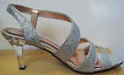 48d4466c28d Mootsies Tootsies Mojericho Silver Clear Heel Prom Evening Dress Shoes Sz  8.5