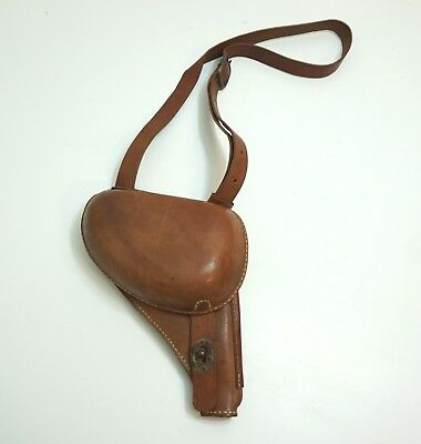 Vintage Wwii Japanese Nambu Style Clamshell Pistol Holster With Strap Repro ??