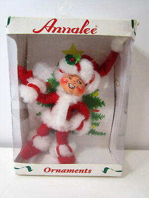 """Annalee Collectible Christmas Ornament 4"""" Peppermint Twist Elf-NEW IN DAMAGED BO"""