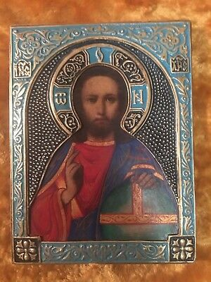 ICON CHRIST PANTOCRATOR ANTIQUE 20C Russian Orthodox Hand Painted Wood