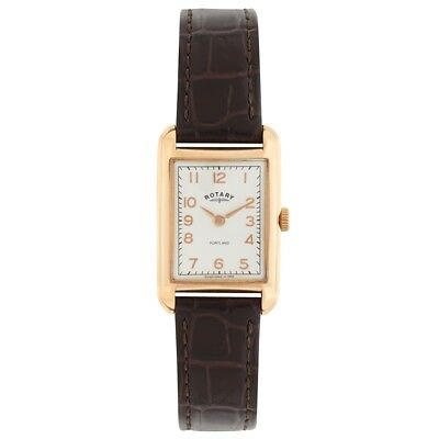 Rotary LS02699-01 Ladies Timepieces Portland Vintage Look Brown Leather Strap Wa