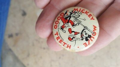 old Mickey Mouse Good Teeth Celluloid Pin Pinback Button,American Dental Assn