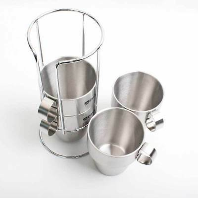 Camping Outdoor Mug Cup Set Included Holder Stainless 4PC