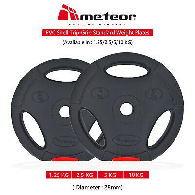 METEOR 1.25-10KG Triple Grip Standard Weight Plates Gym Fitness Weightlifting