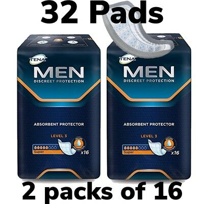 TENA Men Level 3 Absorbent Protector 2 Packs of 16 32 Guards Man Incontinence