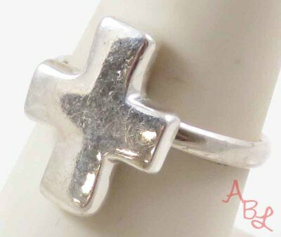 Sterling Silver Vintage 925 Religious Cross Signet Ring Sz 7.5 (4.4g) - 745896