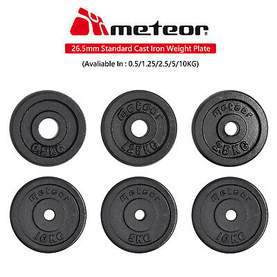METEOR 0.5-5KG Standard Black Weight Plate Home Gym Press Fitness Exercise Gear