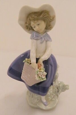 Lladro Pretty Pickings Girl with Basket of Flowers and Hat Figurine