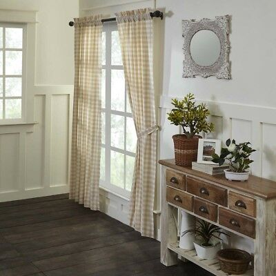 French Country Victorian VHC Brands Annie Buffalo Tan Check Curtains Set  84x40