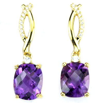 Natural Aaa Purple Amethyst Cushion & White Cz Sterling 925 Silver Earring