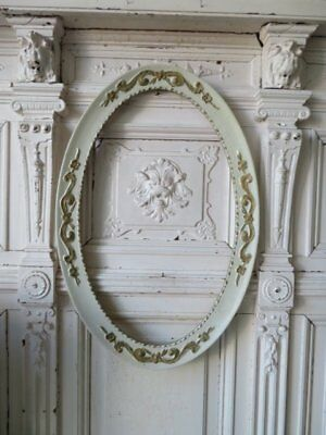 BEAUTIFUL Old Vintage French OVAL Wall FRAME ORNATE Barbola Gesso WHITE